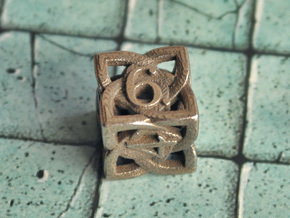 Celtic D6 in Polished Bronzed Silver Steel