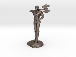 Female Barbarian Human With Great Axe and Braid in Polished Bronzed Silver Steel