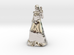 Female Half Elf Bard with Rapier and Uilleann pipe in Platinum