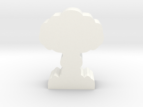 Game Piece, Mushroom Cloud in White Strong & Flexible Polished