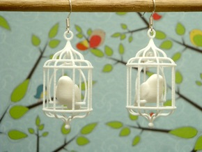 Bird in a Cage 02 in White Natural Versatile Plastic