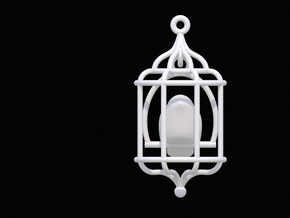 Bird in a Cage Pendant 02 in White Natural Versatile Plastic