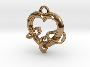 3 Hearts Linked in Love in Polished Brass (Interlocking Parts)