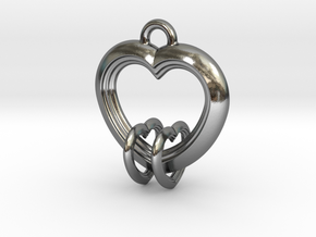2 Hearts Linked in Love in Polished Silver (Interlocking Parts)