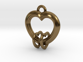 2 Hearts Linked in Love in Polished Bronze (Interlocking Parts)