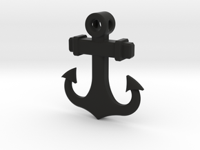 Anchor Pendant (CustomMaker) in Black Natural Versatile Plastic