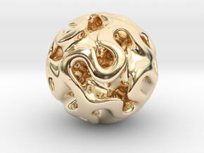 Gyroid Sphere #1 in 14k Gold Plated Brass