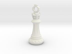 Chess King Pendant in White Natural Versatile Plastic