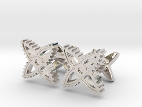 X-Gear Cufflinks in Rhodium Plated Brass