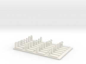 N Scale Cemetery Graveyard Mixed (no fence) 1:160 in White Natural Versatile Plastic