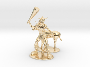 Bobby the Barbarian & Uni Miniatures in 14K Yellow Gold: 1:60.96