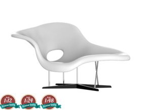 Miniature Eames La Chaise - Ray & Charles Eames in White Natural Versatile Plastic: 1:24