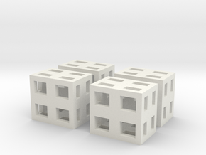 Boxes 4x scale 1-100 in White Natural Versatile Plastic: 1:100
