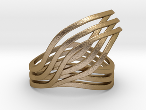 Leaves ring in Polished Gold Steel