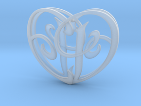 Scripted Initials 3d Heart - 4cm in Smooth Fine Detail Plastic