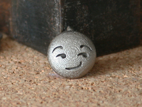 Dime Sized Emoji Smirk in Polished Bronzed Silver Steel
