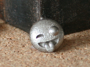 Dime Sized Emoji Big Eye Tongue Sticking Out in Polished Bronzed Silver Steel