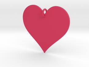 Heart Pendant in Pink Processed Versatile Plastic