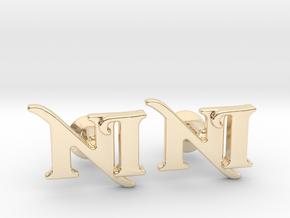 Monogram Cufflinks NI in 14k Gold Plated Brass