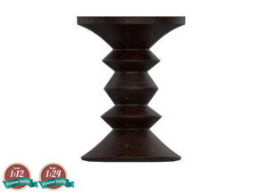 Miniature Eames Walnut Stool - Ray & Charles Eames in White Strong & Flexible: 1:24