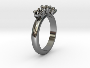 Flower ring in Fine Detail Polished Silver