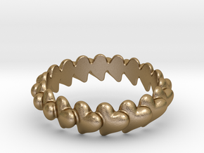 Hearts Bracelett 70 in Polished Gold Steel