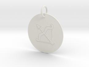 Sagittarius Keychain in White Natural Versatile Plastic