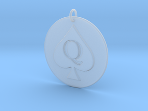 Queen of Spades Pendant in Smooth Fine Detail Plastic