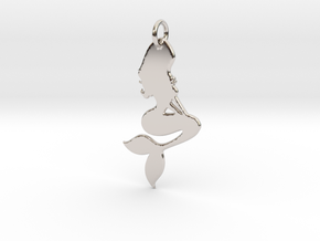 Mermaid Pendant in Rhodium Plated Brass