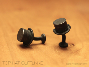 Top Hat Cufflinks in Polished and Bronzed Black Steel