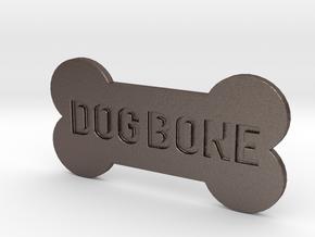Dog Bone Button in Polished Bronzed Silver Steel