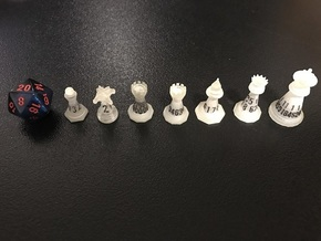 Chess-shaped Dice Set (small) in Smooth Fine Detail Plastic: Polyhedral Set