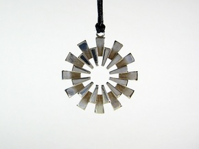 Pendant - 3D Printed Sun in Fine Metals in Polished Silver