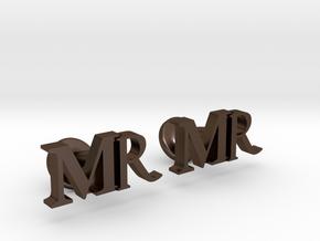 MR personalised cufflinks in Polished Bronze Steel