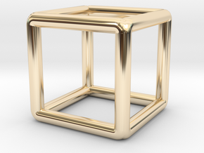 Building Cube Pendant in 14K Yellow Gold