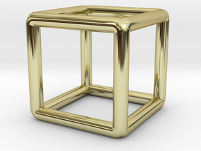 Building Cube Pendant in 18k Gold Plated Brass