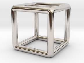 Building Cube Pendant in Rhodium Plated Brass