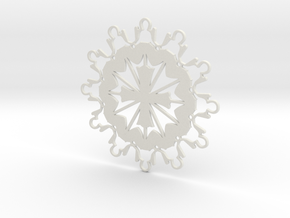 Prayer Group Snowflake Ornament in White Natural Versatile Plastic