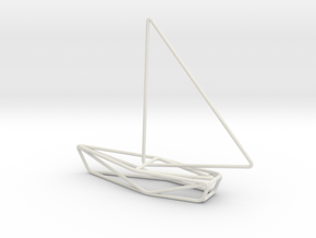 Sailing Boat Scale 1-100 in White Natural Versatile Plastic: 1:100