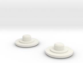 Fidget Bearing Caps in White Natural Versatile Plastic