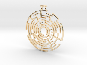 Labyrinthine Pendant in 14k Gold Plated Brass