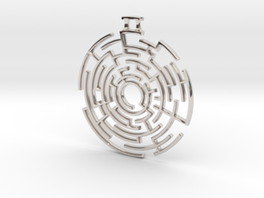 Labyrinthine Pendant in Rhodium Plated Brass