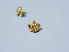Petite Orchid Earrings in Polished Brass