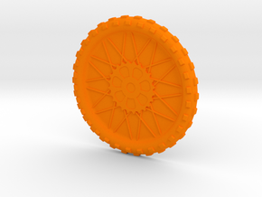 Motorcycle wheel and tire beverage coaster, large in Orange Strong & Flexible Polished