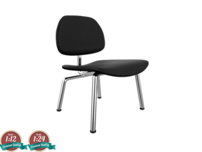 Miniature Eames LCM -  Leather - Charles Eames in Frosted Ultra Detail: 1:24