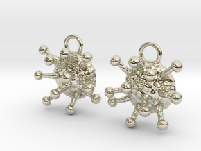 Cannabis Trichome Earrings - Nature Jewelry in 14k White Gold