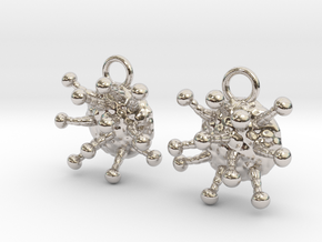 Cannabis Trichome Earrings - Nature Jewelry in Platinum