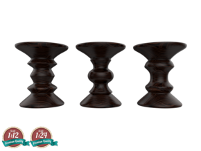 Miniature Eames Walnut Stool - Set Of 3 in White Strong & Flexible: 1:24