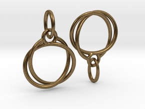 Mobius earrings jR in Natural Bronze (Interlocking Parts)