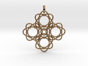 Pendant  Holy Cross Einstein in Interlocking Raw Brass